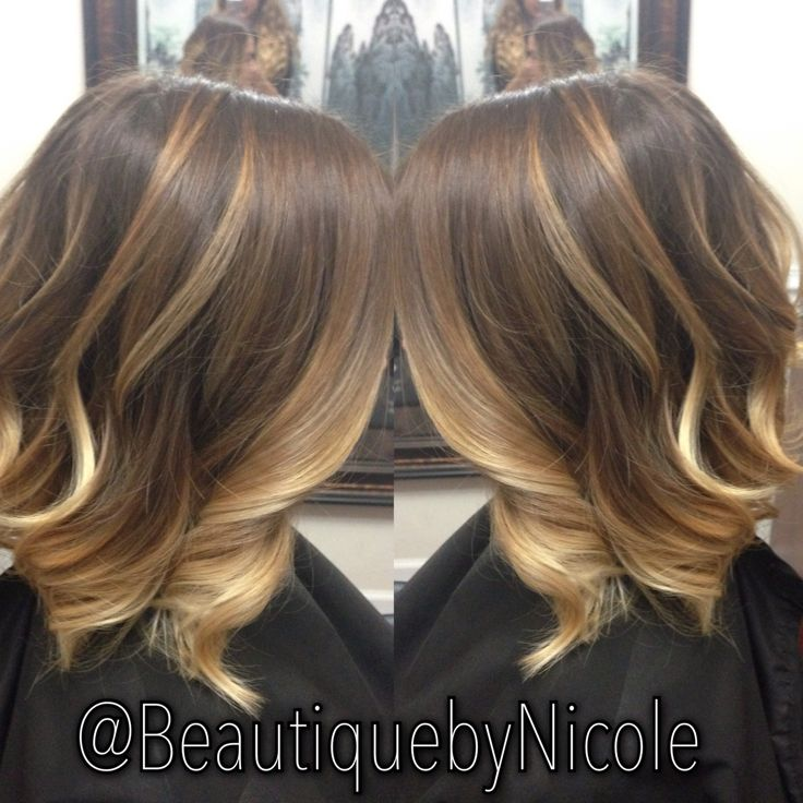 Caramel Ombre Balayage On Long Bob
