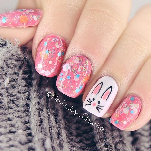 White Bunny Accent Nail Art Design
