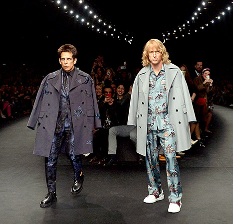 Zoolander's back! Ben Stiller and Owen Wilson walk the runway in character at the Valentino fashion show during Paris Fashion Week on Tuesday, March 10.