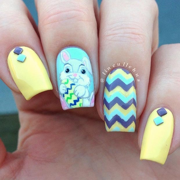 Easter Blue and Yellow Nail Design