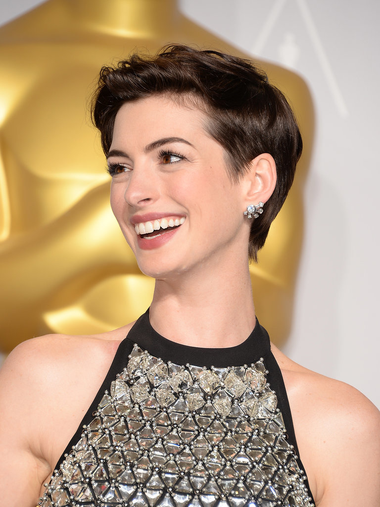 Anne Hathaway Simple Sweep Up Pixie Cut Hairstyle