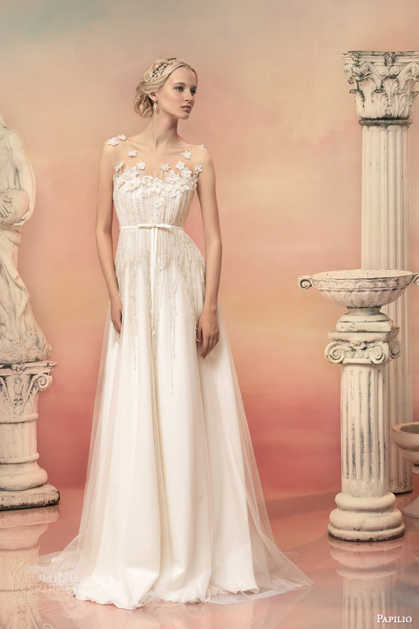 papilio bridal 2015 cleopatra sleeveless empire wedding dress illusion bodice