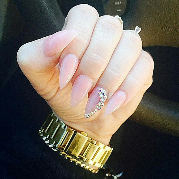 Nude Stiletto Nails Rhinestone Accent Nail