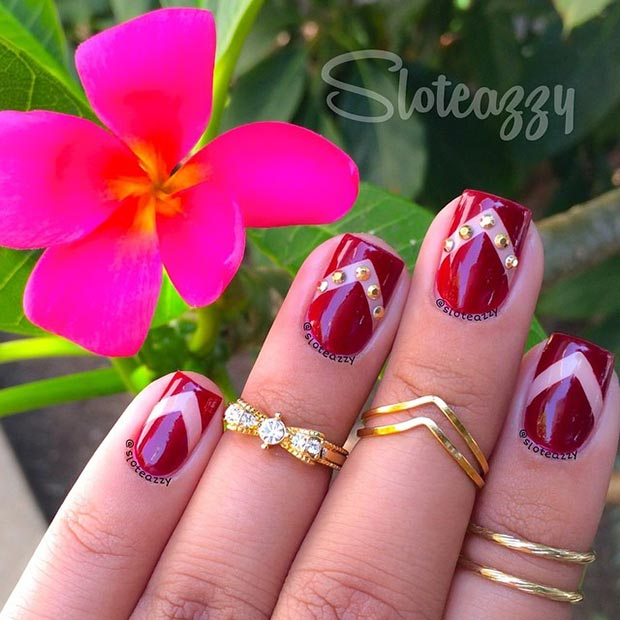 Dark Red with Gold Details Nail Design
