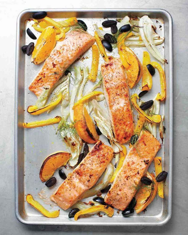 Salmon Fennel Bell Pepper and Olives