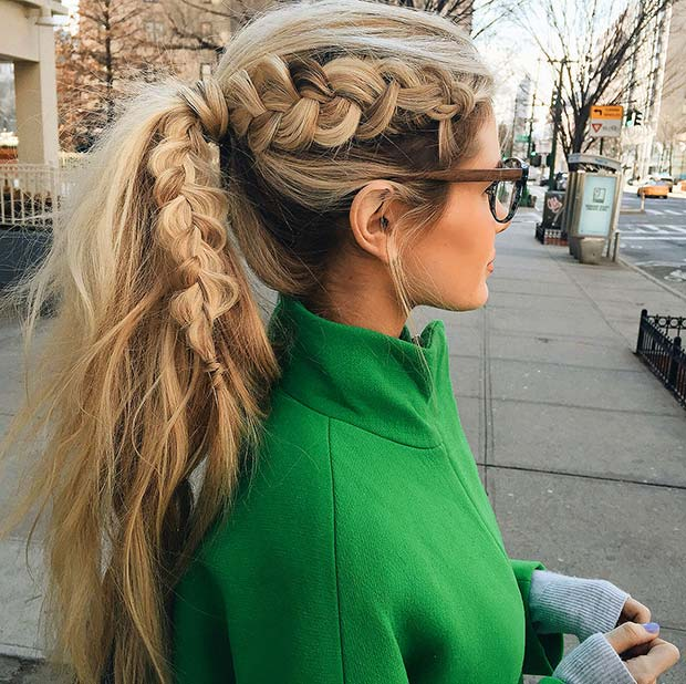 Dutch Braid into Ponytail