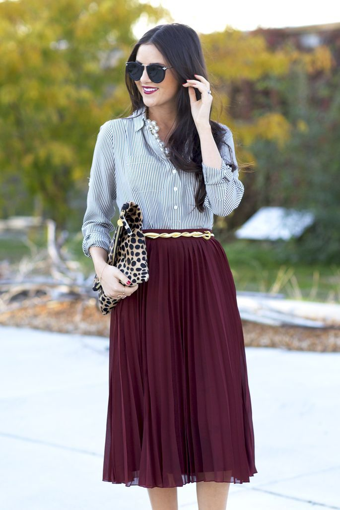 marsala pleated skirt Gorgeous Colors You Need to Add to Your Closet Right Now