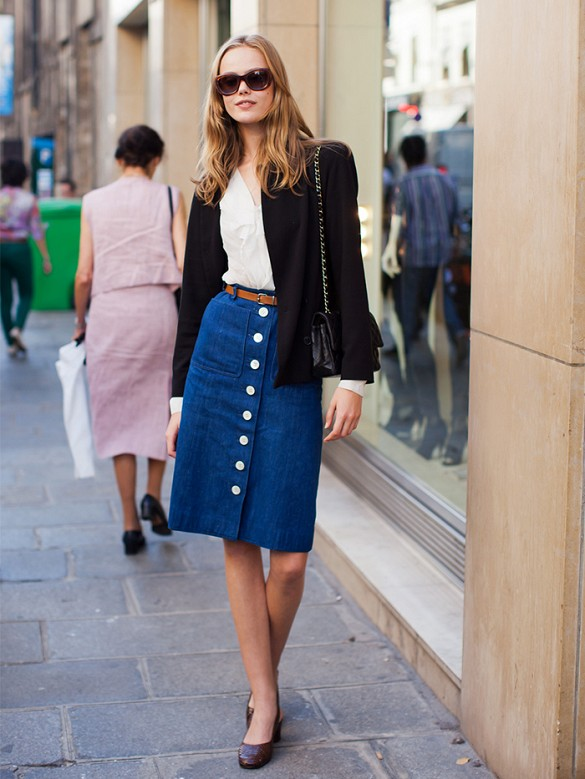 button front skirt blazers