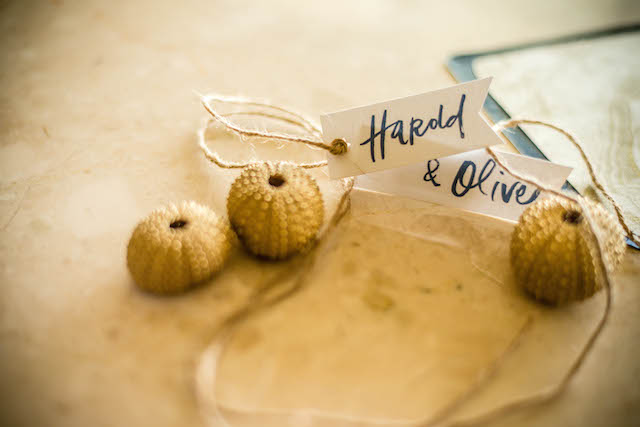 Gold sea urchins and place cards | Daniel Marcion of La Belle Porte at The Landings St. Lucia | see more on: http://burnettsboards.com/2015/04/caribbean-vow-renewal/