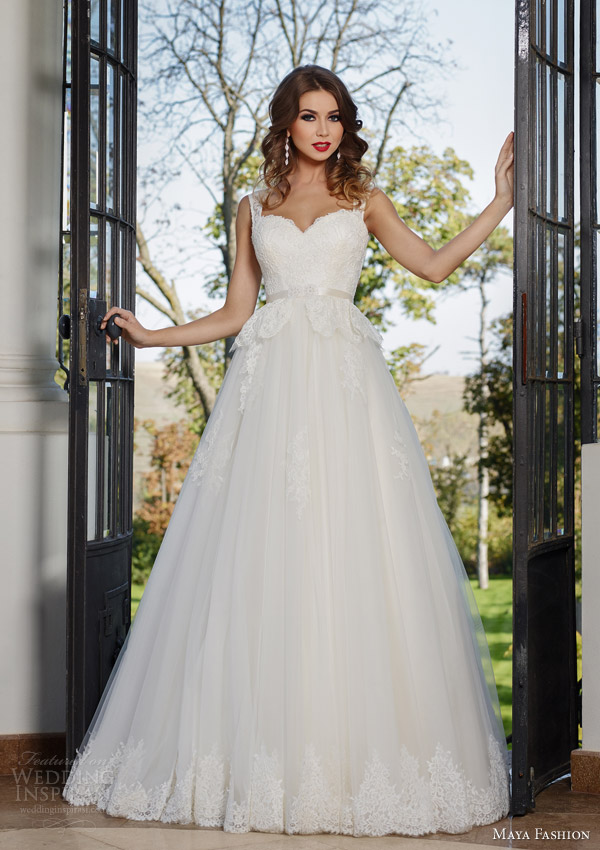 maya bridal 2015 royal wedding dress collection sleeveless ball gown peplum lace bodice m40