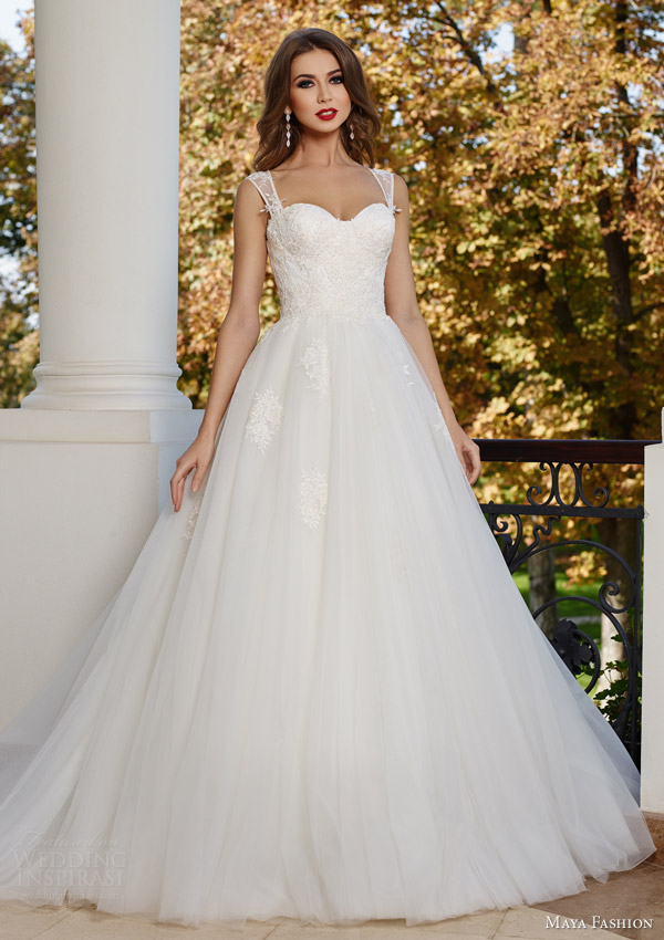 maya fashion 2015 bridal ball gown wedding dress m14 15 illusion straps sweetheart neckline