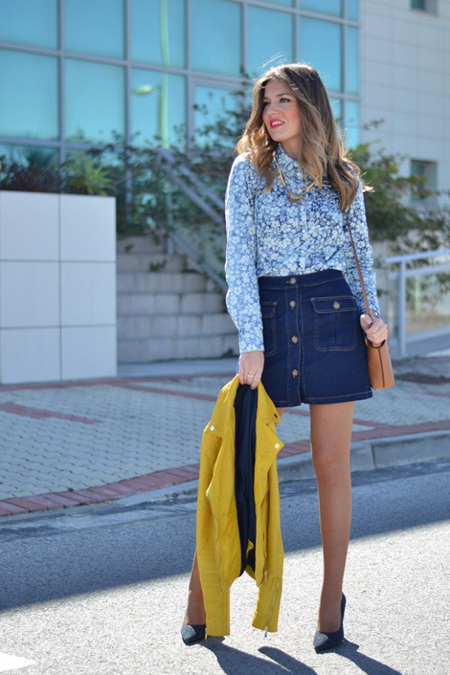 button front skirt print top
