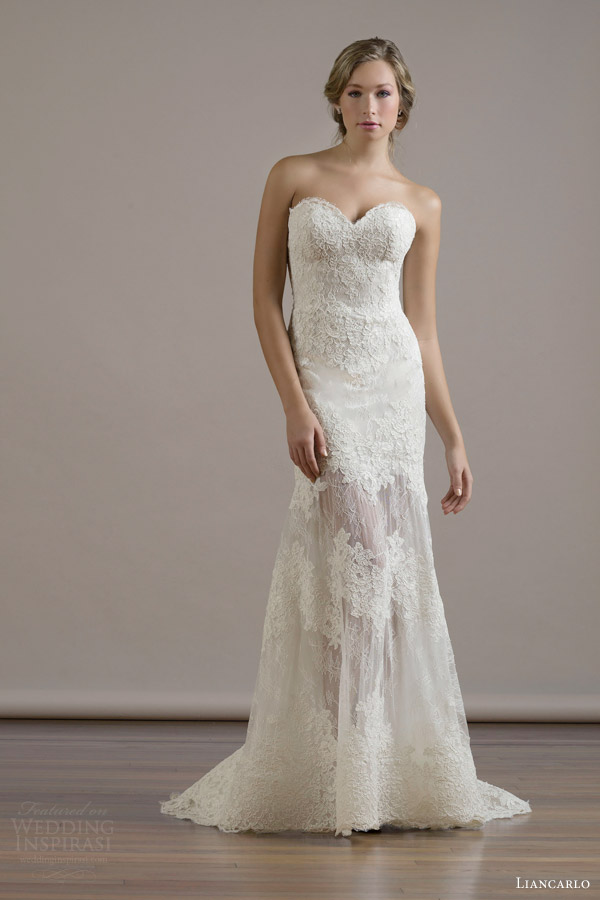 liancarlo bridal fall 2015 wedding dress style 6802 french alencon lace on chantilly strapless sweetheart mermaid gown see through skirt