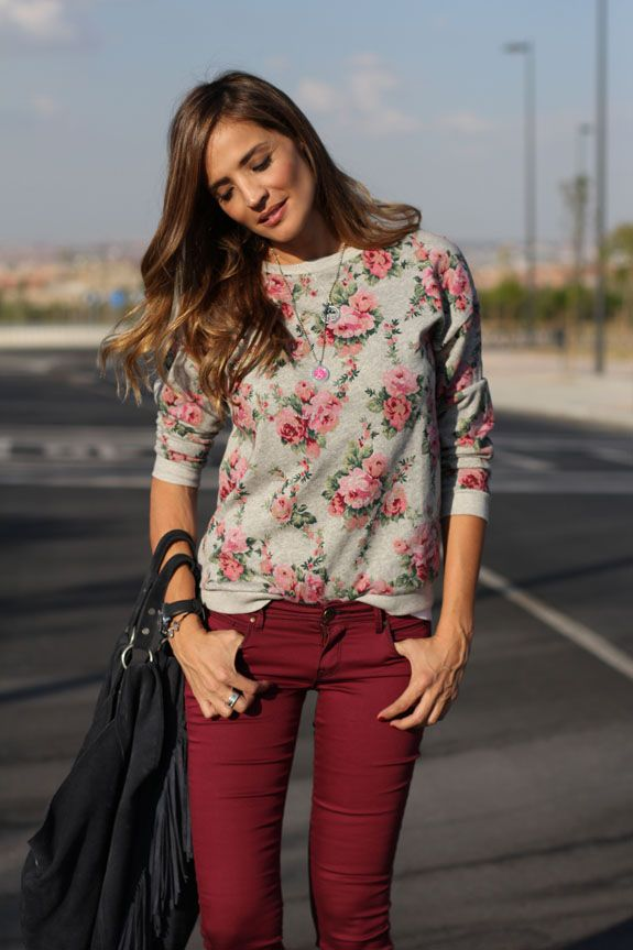 floral print and red jeans