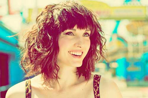 Beach Wavy Dark Bob with Bangs