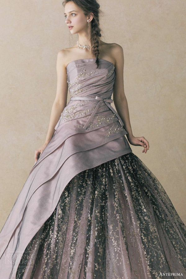 anteprima bridal straplesss ball gown wedding dress black pink pewter ant0059