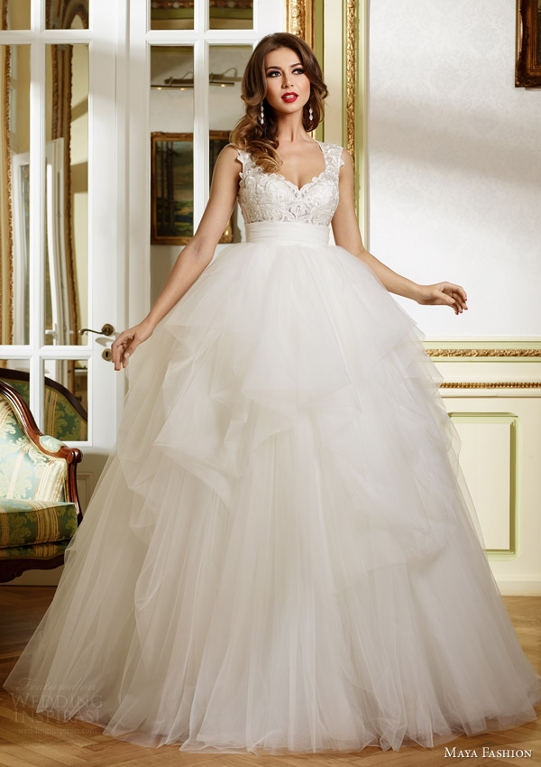 maya 2015 royal bridal collection sleeveless ball gown wedding dress lace bodice m48