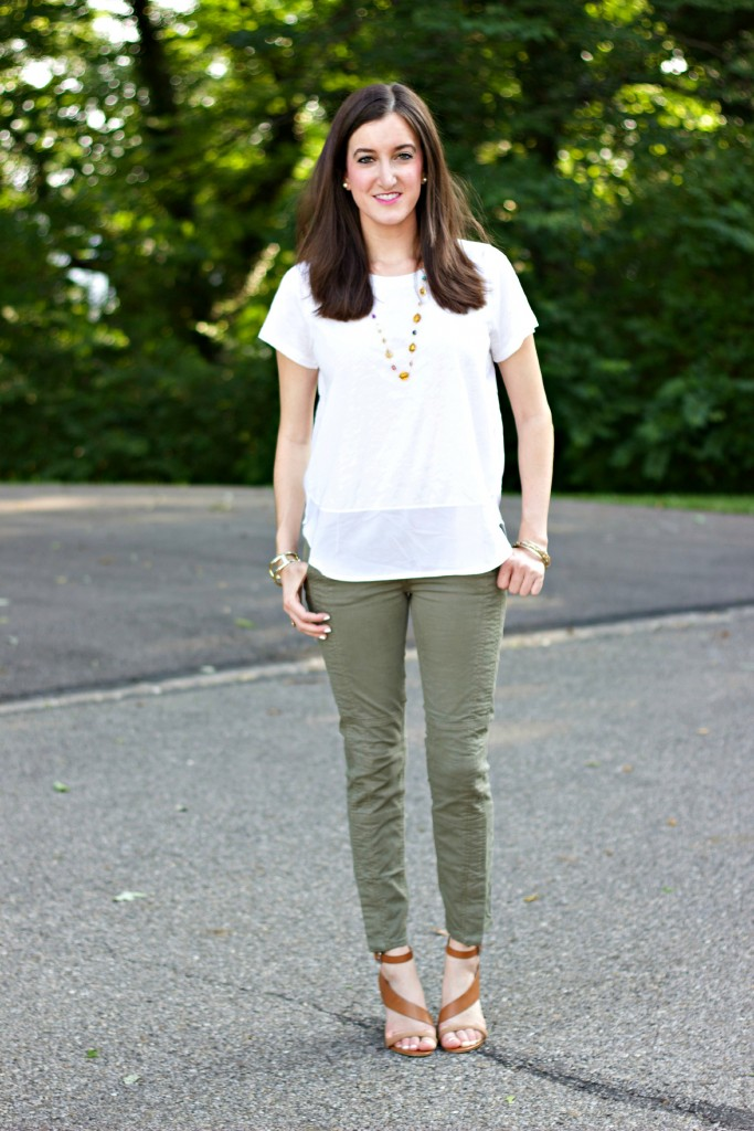 cute utility pants and loose blouse