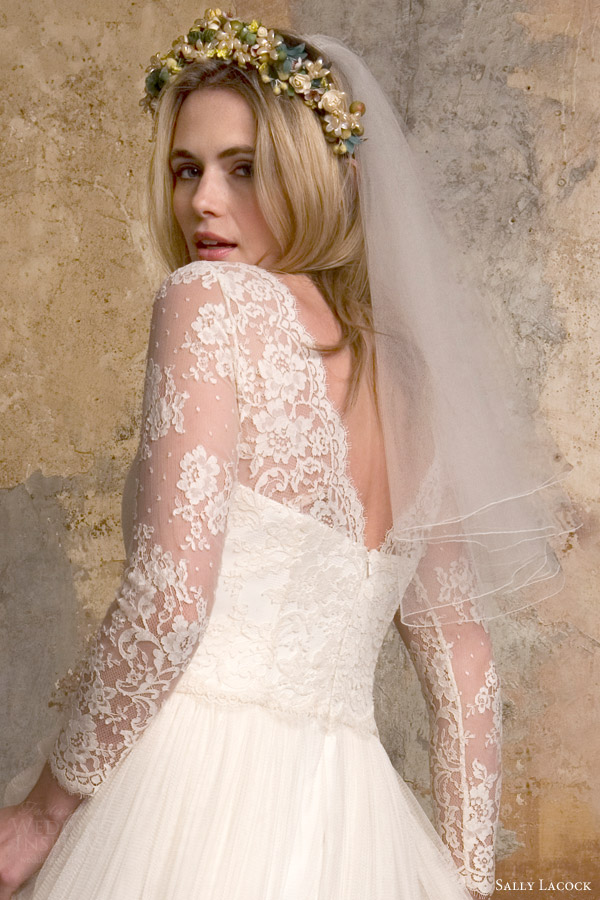sally lacock bridal 2015 sylvie 1950s vintage style wedding dress illusion neckline long sleeves back close up view