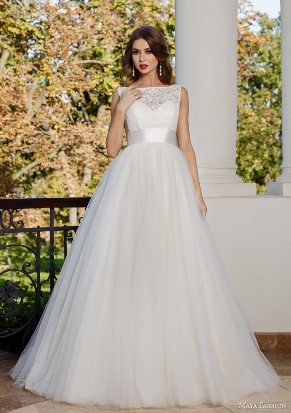 maya fashion bridal 2015 royal collection sleeveless bateau neck a line wedding dress m34