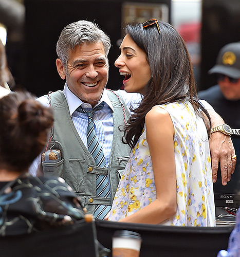 So smitten! Amal Alamuddin and George Clooney share a laugh on the set of Money Monster on April 18 in New York City.