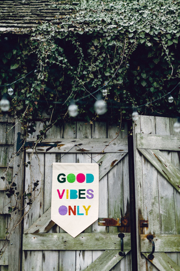good vibes only banner - photo by Danfredo Photos and Film http://ruffledblog.com/bohemian-bridal-shower-at-terrain