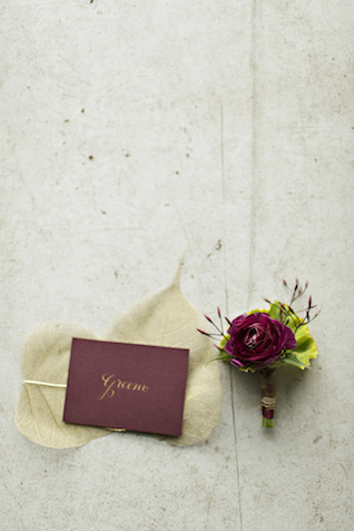 Burgundy boutonniere | Courtney Bowlden Photography | see more on: http://burnettsboards.com/2015/04/burgundy-gold-wedding-ideas/