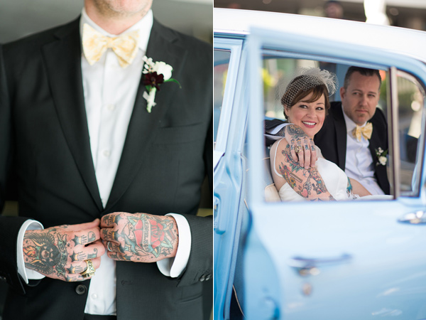 tattooed bride and groom - photo by For the Love of Juneau http://ruffledblog.com/party-city-wedding-in-atlanta