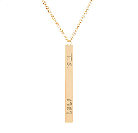Customizable jewelry brand K Kane designed a necklace for Taylor Swift with an inscription of her 1989 album.