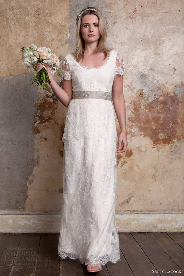 sally lacock 2015 bridal bea 1920s style lace wedding dresses illusion scalloped short sleeves