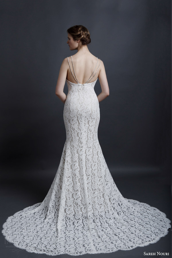 sareh nouri spring 2016 bridal marylin double strap sheath lace wedding dress back view train