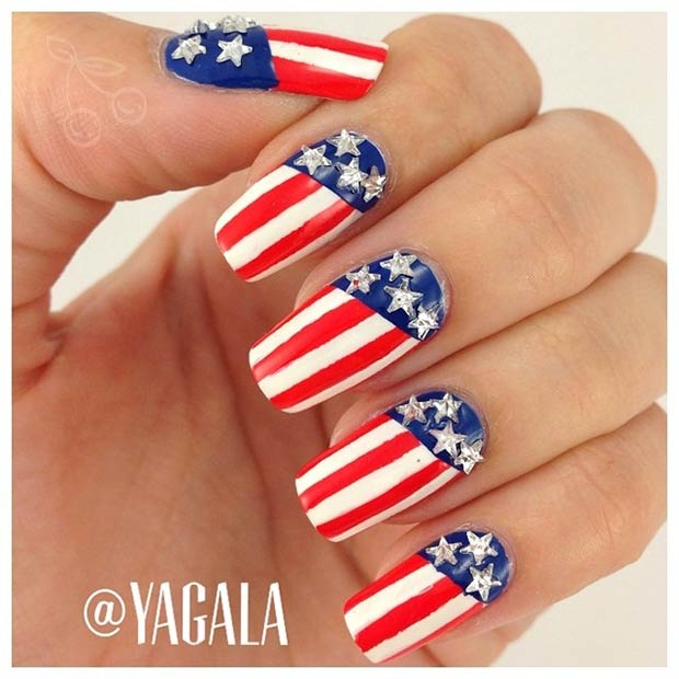 Patriotic Nail Design for 4th of July