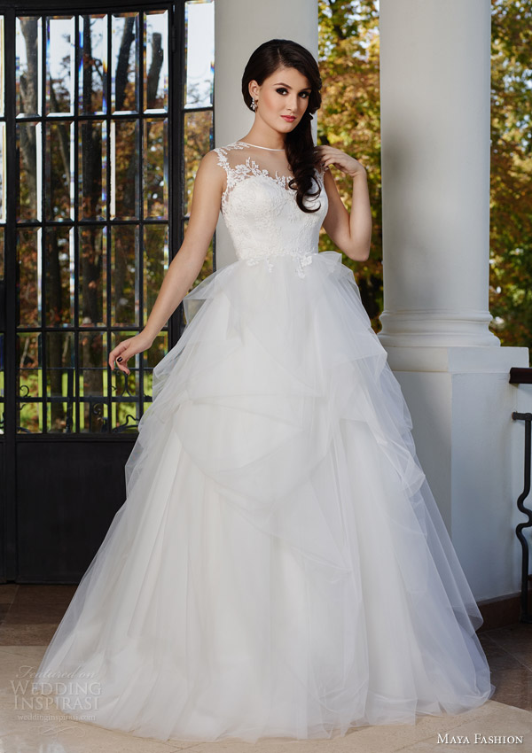 maya fashion 2015 royal bridal collection illusion neckline sleeveless wedding dress princess style m43