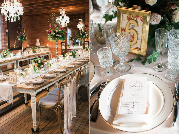 wedding reception decor - photo by Brandi Welles Photographer http://ruffledblog.com/sheer-romance-wedding-at-carondelet-house
