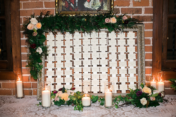 seating chart - photo by Brandi Welles Photographer http://ruffledblog.com/sheer-romance-wedding-at-carondelet-house