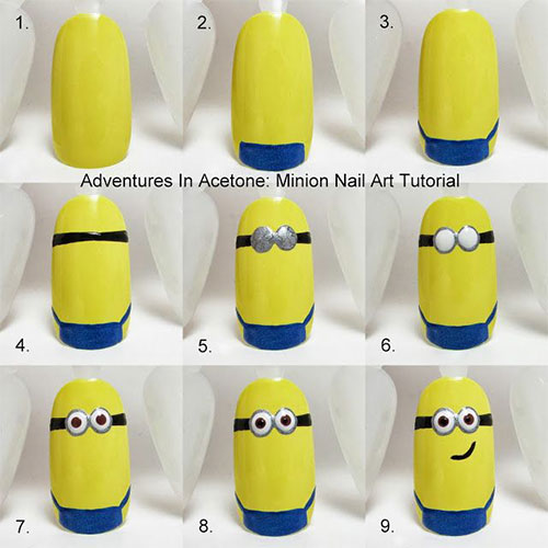 10 Easy Step By Step Minion Nail Art Tutorials For Beginners Learners 2015 5 10 Easy Step by Step Minion Nail Art Tutorials For Beginners & Learners 2015