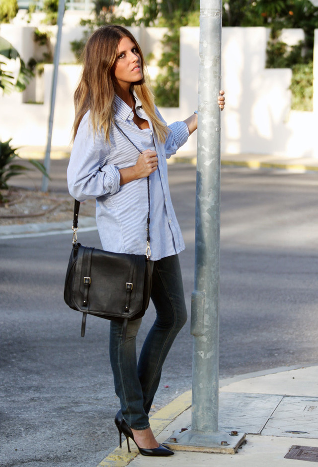 boyfriend shirt and skinny jeans