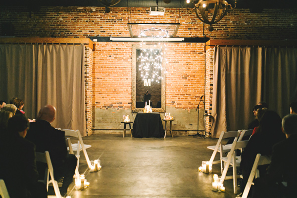 wedding ceremony setup - photo by Emily Chidester http://ruffledblog.com/southern-wedding-with-a-gold-sequin-gown