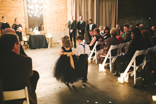 flower girls - photo by Emily Chidester http://ruffledblog.com/southern-wedding-with-a-gold-sequin-gown