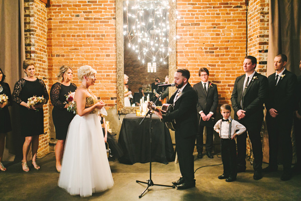 wedding ceremony - photo by Emily Chidester http://ruffledblog.com/southern-wedding-with-a-gold-sequin-gown