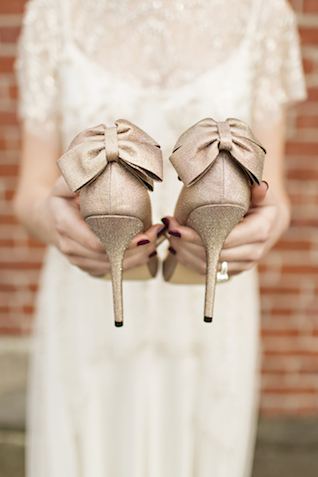 Heels with bows | Courtney Bowlden Photography | see more on: http://burnettsboards.com/2015/04/burgundy-gold-wedding-ideas/
