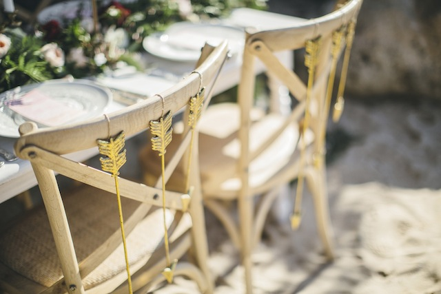 Arrow chair decor ⎪ Tina Shawal Photography ⎪ see more on: http://burnettsboards.com/2015/04/island-inspired-bohemian-wedding/