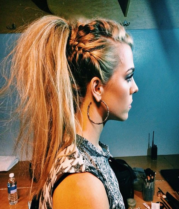 grunge braid high ponytail