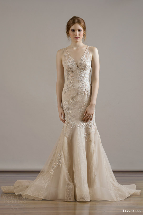 liancarlo bridal fall 2015 wedding dress style 6813 italian bouquet embroidery chantilly v neck blush sleeveless mermaid gown lace tulle skirt panels