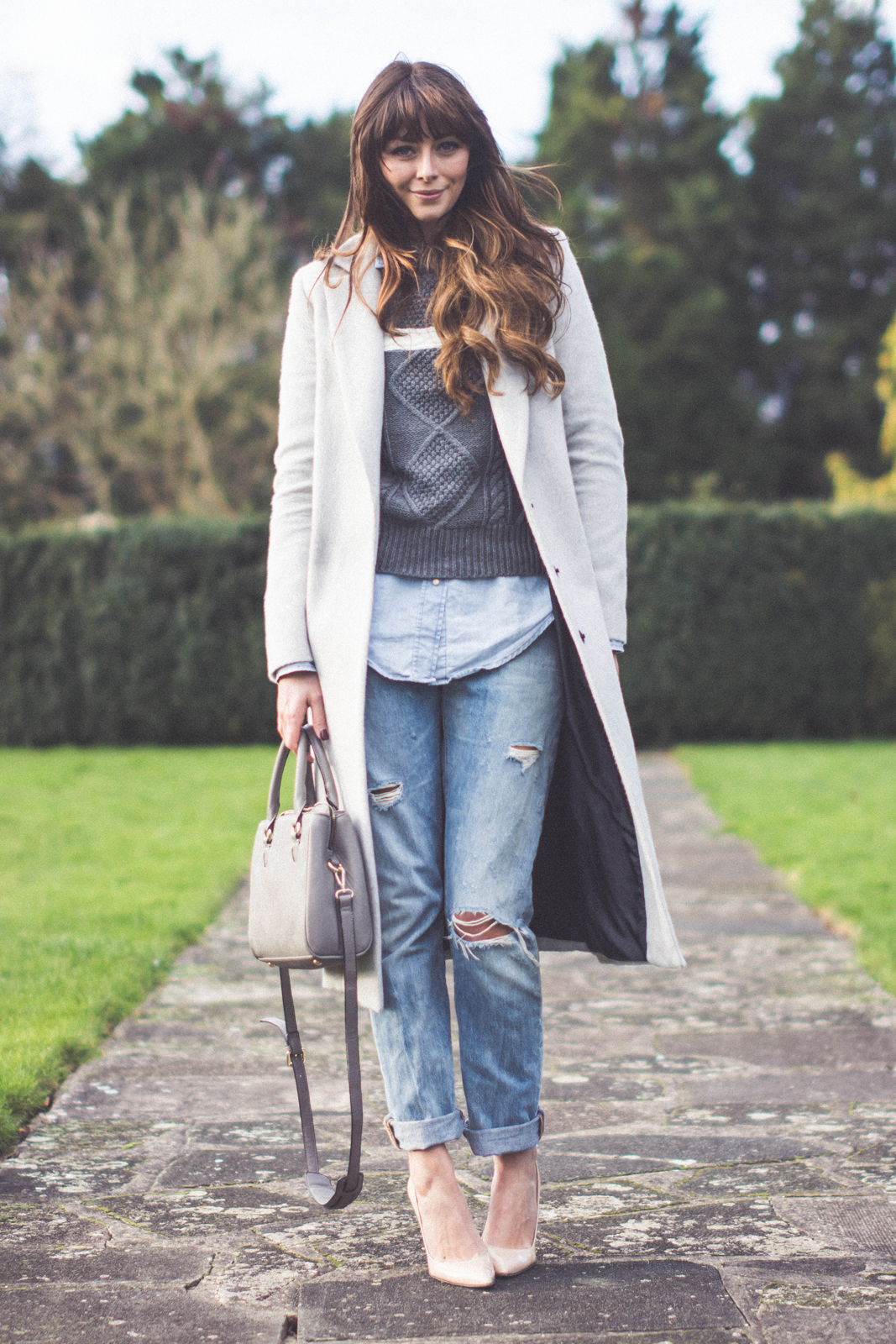 layered denim outfit