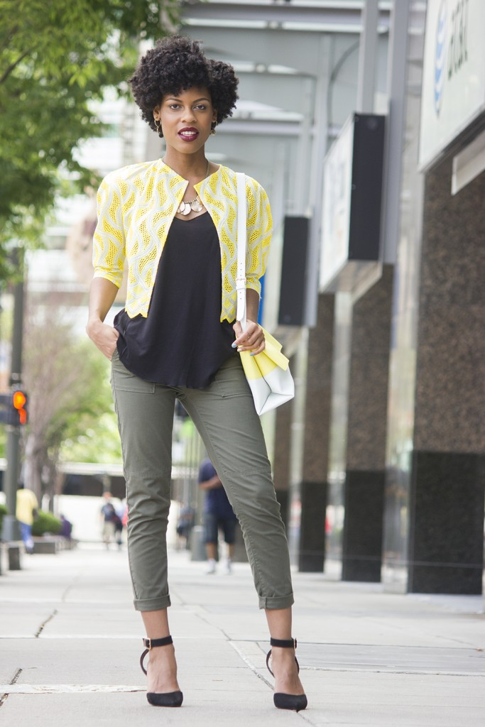 cropped utility pants and yellow blazer