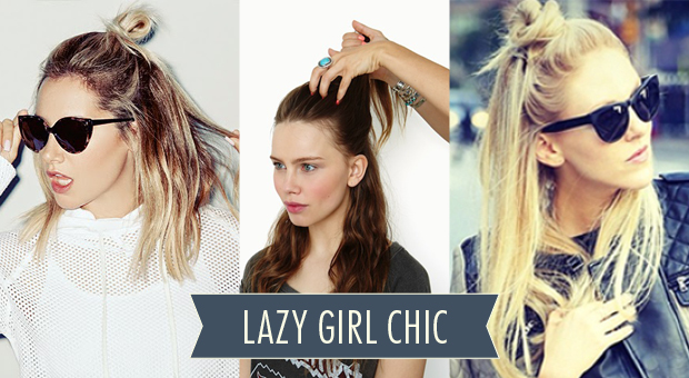 lazy girl chic half bun