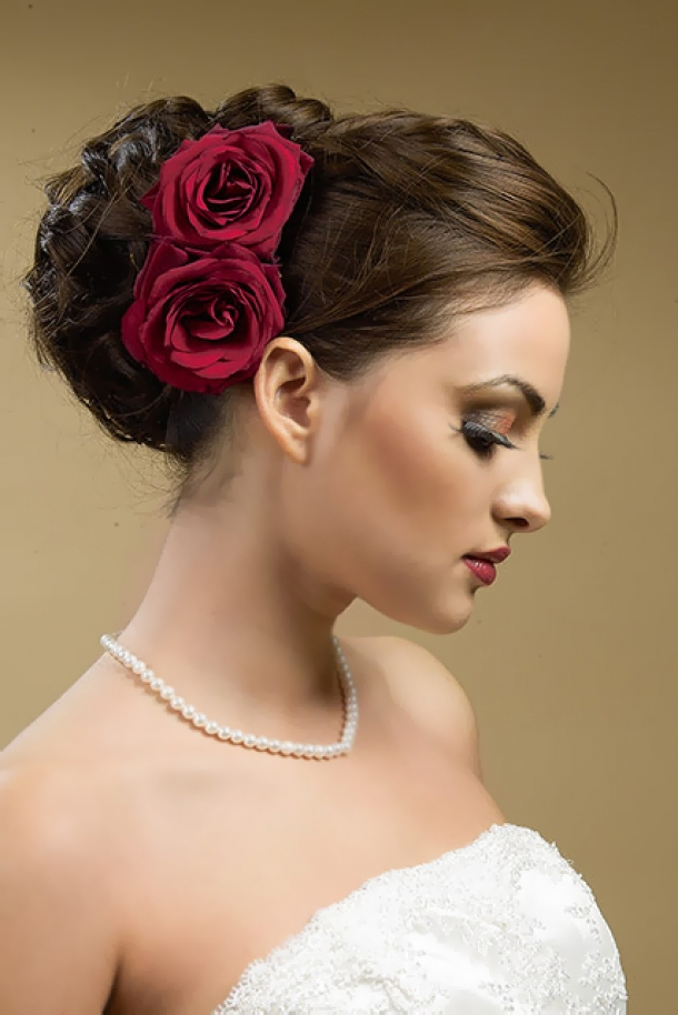 hairstyle with red rose