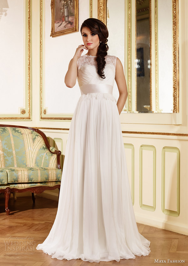 maya fashion 2015 royal bridal collection sleeveless wedding dress illusion lace neckline m45