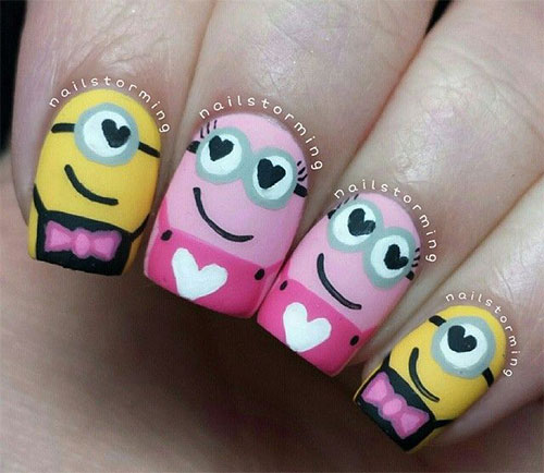 Cute Pink Minion Nail Art Designs Ideas Trends Stickers 2015 2 Cute Pink Minion Nail Art Designs, Ideas, Trends & Stickers 2015